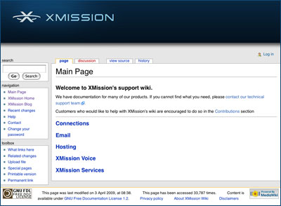 XMission Support Wiki Screen capture