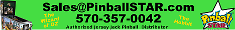 PinballSTAR Amusements--WIZARD of OZ / The HOBBIT - Jersey Jack Authorized distributor - 570-357-0042
