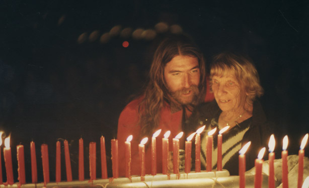 Georgie And Brian Derker Basking In The Glow Of Birthday Cake Candles At Georgies 80th Party 1990
