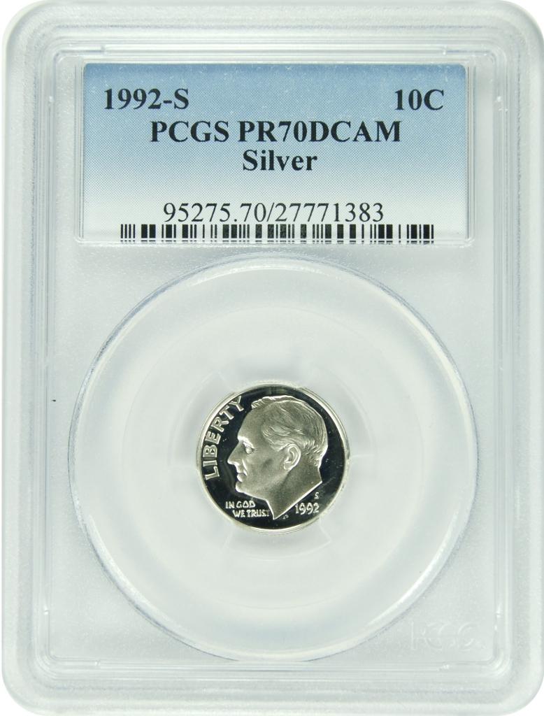 New PCGS Label 1992-S PCGS PR70DCAM Roosevelt SILVER Dime