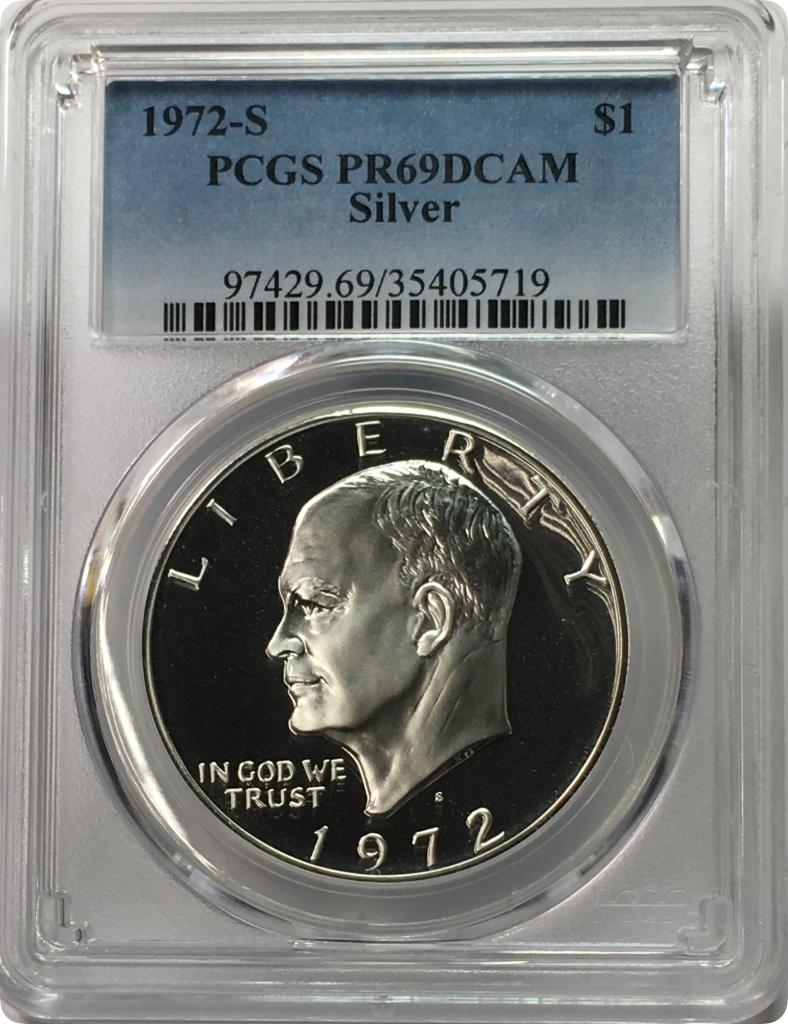1972 S Eisenhower Ike Silver Dollar $1 PR69DCAM PCGS